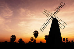 Windmill on twilight time Royalty Free Stock Photos