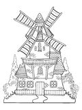 Windmill vector drawing coloring book for adults Stock Image