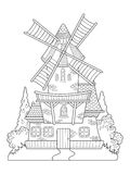 Windmill vector drawing coloring book for adults. Windmill drawing coloring book for adults vector illustration. Anti-stress coloring for adult. Zentangle style Royalty Free Stock Photography