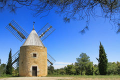 Windmill in  Venejan, south of France Stock Images