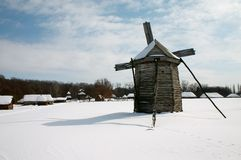 Windmill in the village Royalty Free Stock Images