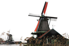 Windmill village and reed Stock Photo