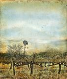 Windmill in Vineyard on a Grunge Background Stock Photo