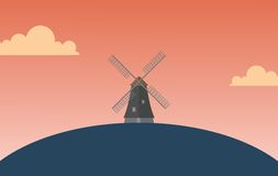Windmill Wallpaper. Windmill simple wallpaper with sunset atmosphere in vector Royalty Free Stock Images