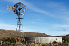 The Windmill And Water Tank in Sutherland Royalty Free Stock Photos