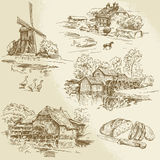 Windmill and watermill. Hand drawn collection - windmill and watermill Royalty Free Stock Photos