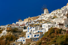 Windmill and white houses, Oia, Santorini, Greece Royalty Free Stock Photography