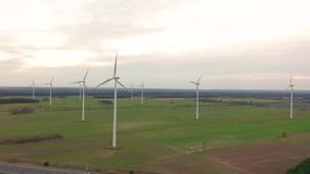 Windmill Wind power technology - Aerial drone view on Wind Power, Turbine, Windmill, Energy Production - Green