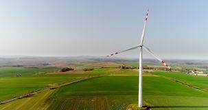 Aerial wiev of windmills farm. Power Energy Production. Windmill and Wind power technology background. Aerial view on Wind Power, Turbine, Windmill, Energy stock video