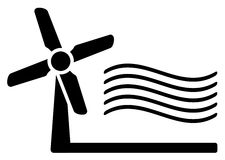 Windmill and wind symbol Stock Photo
