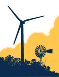 Windmill and Wind Turbine 1. Vector illustration of an old fashioned windmill next to a modern wind turbine Royalty Free Stock Photography