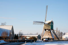 Windmill winter Holland Stock Image