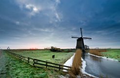 Windmill winter landscape Stock Images