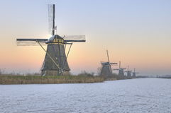 Windmill winter scene. The world famous windmills of Kinderdijk in winter scene Stock Image