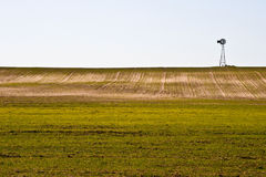 Windmill and Winter Wheat. Windmill in a field of newly planted winter wheat on the prairie of central Oklahoma Royalty Free Stock Images