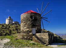 Windmill. Ysternia village in Tinos island. Tinos is an island of Cyclades in Aegean sea - Greece Royalty Free Stock Photography