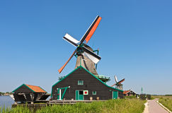 Windmill at Zaanse Schans. Windmills at the famous Zaanse Schans near Amsterdam, Netherlands Stock Photography