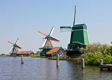Windmill at Zaanse Schans. Windmills at the famous Zaanse Schans near Amsterdam, Netherlands Stock Photos