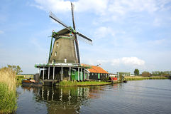 Windmill in Zaanse Schans Stock Photography
