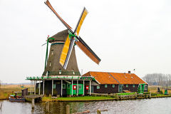 Windmill at zaanse schans Royalty Free Stock Image