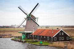 Windmill in Zaanse Schans historic town Stock Photo
