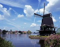 Windmill, Zaanse Schans, Holland. Royalty Free Stock Image