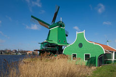 Windmill in Zaanse Schans, the Netherlands Royalty Free Stock Photo