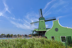 Windmill at Zaanse Schans Netherlands Stock Photo