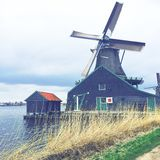 Windmill Zaanse Schans Netherlands royalty free stock image