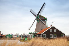 Windmill in Zaanse Schans town, Holland Royalty Free Stock Photo