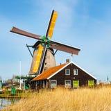 Windmill in Zaanse Schans, traditional village near Amsterdam, Holland Stock Images