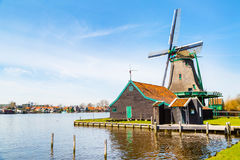 Windmill in Zaanse Schans, traditional village, Netherlands, North Holland stock image