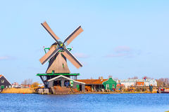 Windmill in Zaanse Schans, traditional village, Netherlands, North Holland Royalty Free Stock Photo