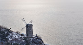 Windmillen av sjösidan Arkivfoto