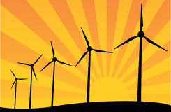 Windmills. Vector illustration of some windmills Royalty Free Stock Photos