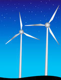 Windmills. Vector illustration of two windmills Stock Photography