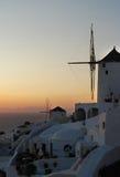 Windmills. Photo of windmills in Oia village, Santorini Island, Greece Stock Images