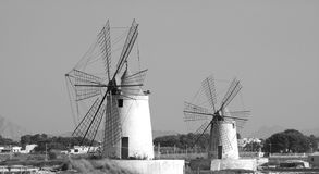 Windmills. Old windmills in the province of Trapani - (Sicily Stock Photography