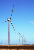 Windmills. A row of windmills against the backdrop of blue sky Royalty Free Stock Image