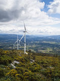 Windmills. In a mountain with valley background Stock Photo