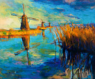 Windmills. Original oil painting showing beautiful lake,sunset landscape.Windmills,Fern(rush),sky and clouds. Modern Impressionism Royalty Free Illustration