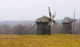 Windmills. Windmill in ukranian village at winter time Stock Photo