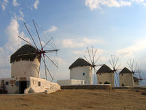 Windmills. Mykonos, Greece stock images