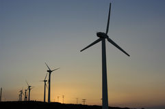 Windmills. On a sunset, summer stock image
