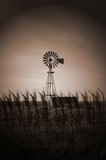 Windmills. In the field at night Royalty Free Stock Photo
