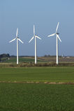 Windmills. Three windmills in a danish acre Stock Photo