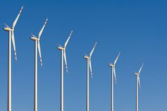 Windmills. With Blue Sky in the background stock photography