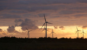Windmills. At sunset time in the countryside Stock Photography