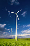 Windmills against a blue sky Stock Image