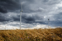 Windmills. Against the cloudy sky. Wind turbines on the meadow Royalty Free Stock Photo